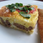 Baked Frittata with Turkey Sausage, Gruyere and Tomatoes