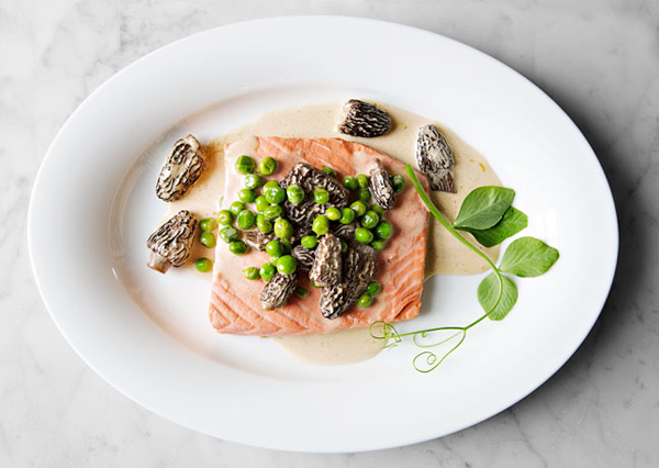 poached-wild-salmon-with-peas-and-morels