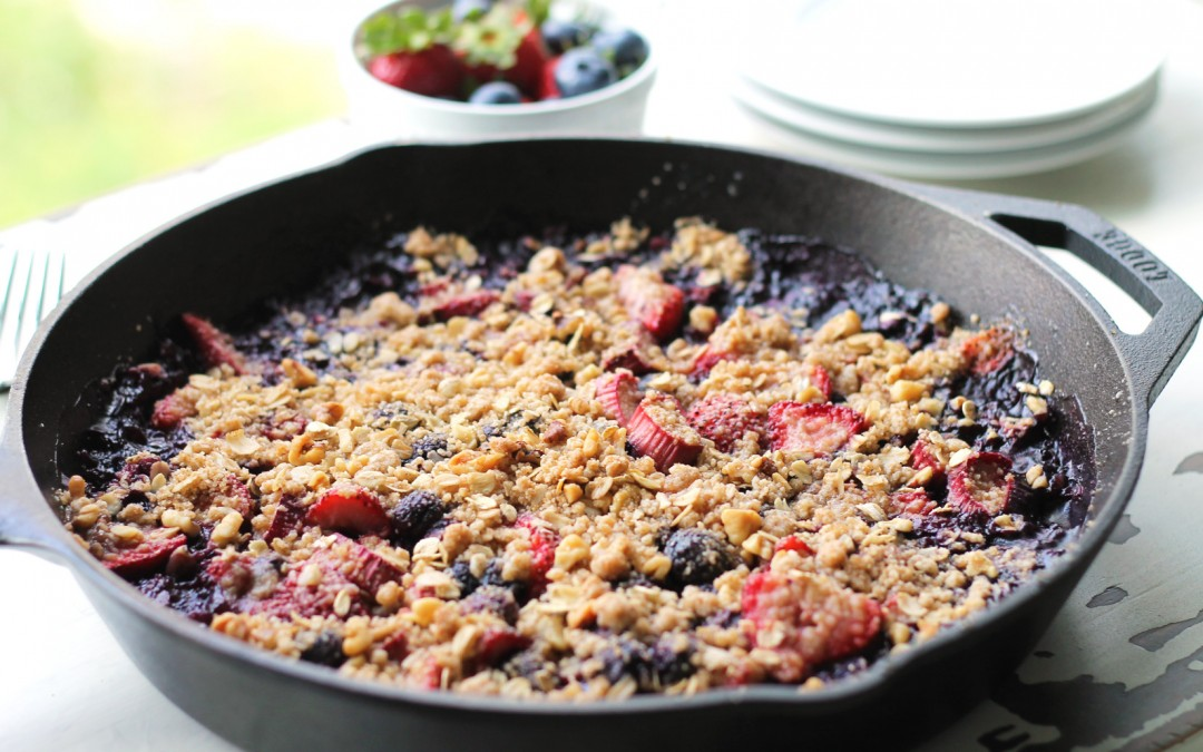 Strawberry Blueberry Rhubarb Skillet Crisp
