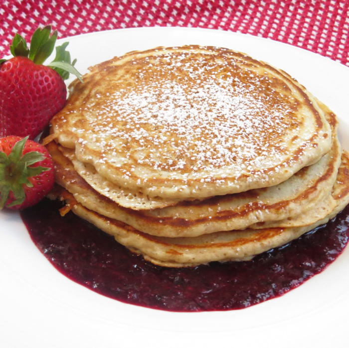 Whole-Wheat-Pancakes-Strawberry-Sauce