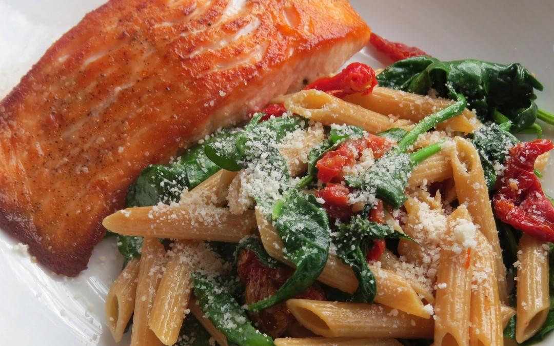 Pan Roasted Salmon with Whole Wheat Penne, Spinach and Sundried Tomatoes