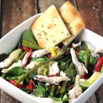 Mediterranean Salad with Garlic-Herb Bread